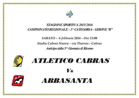 CALCIO: 1° CAT. GIR. B ANTICIPO FRA ATLETICO CABRAS ED ABBASANTA