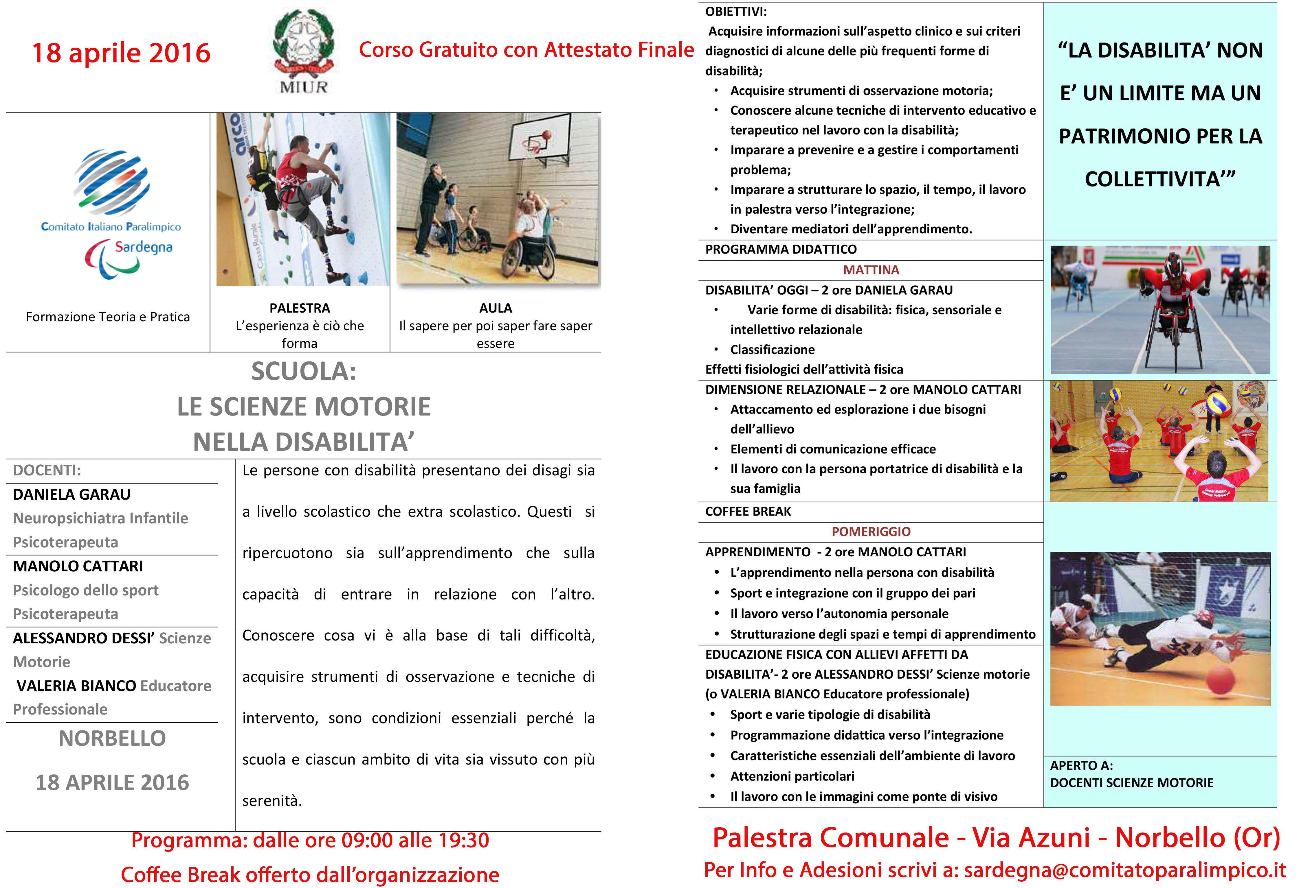 Corso Scuola - CIP - Norbello 18-04-2016
