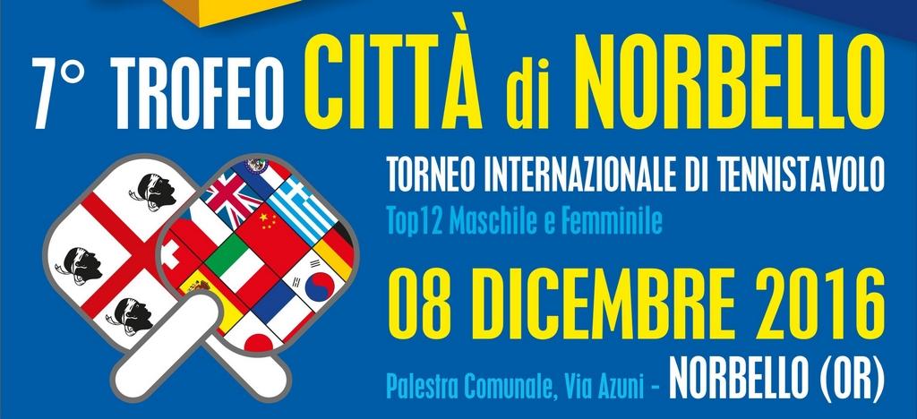 """Tennistavolo. Grande spettacolo l'8 dicembre per il 7° Trofeo Internazionale di Tennistavolo """"Città di Norbello"""""""
