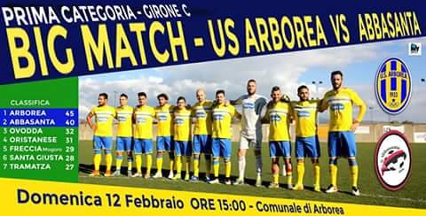 Calcio 1a Categoria Girone C. Domenica Arborea-Abbasanta, match che vale mezzo campionato