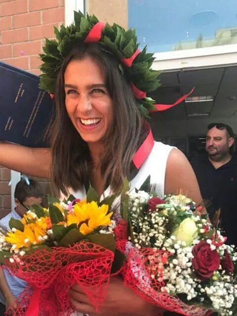 La pallavolista dell'Ariete Oristano Valentina Soppelsa laureata oggi in Scienze Motorie