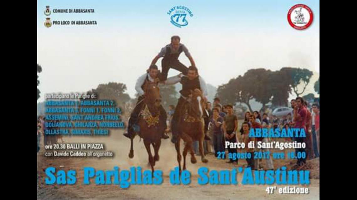 "47a edizione ""Sas Pariglias de Santu Austinu"". Domenica 27 Agosto ad Abbasanta"