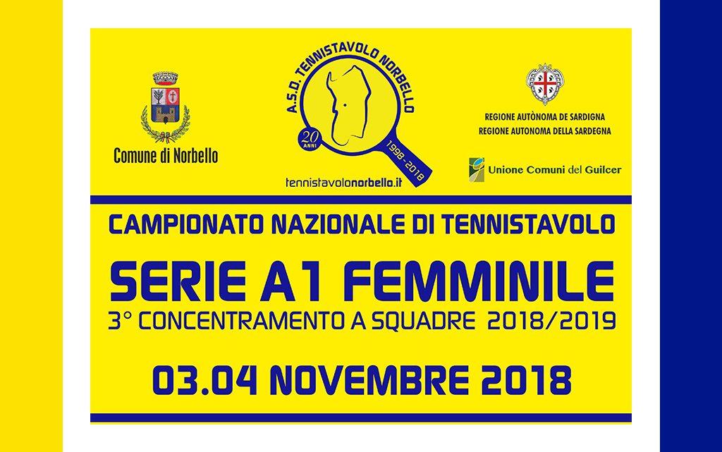 Tennistavolo A1 Femminile. Il 3 e 4 novembre a Norbello il terzo concentramento nazionale