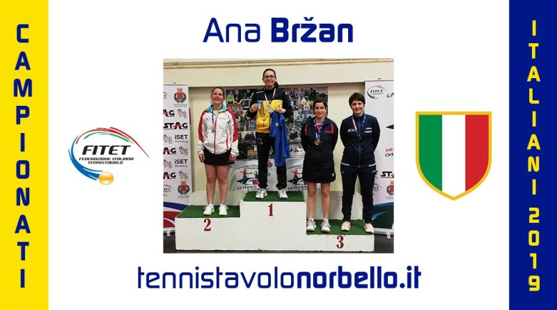 Tennistavolo Norbello. Ana Brzan veterana vincente: due ori e un argento agli Italiani in Toscana