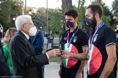 Stefano Oppo  e gli altri olimpionici ricevuti dal presidente della Repubblica Mattarella e dal premier Draghi